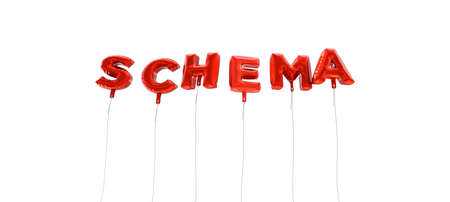 SCHEMA - word made from red foil balloons - 3D rendered.  Can be used for an online banner ad or a print postcard.