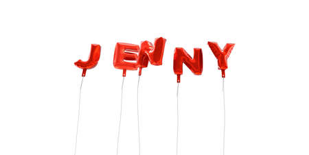 JENNY - word made from red foil balloons - 3D rendered.  Can be used for an online banner ad or a print postcard.
