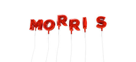 morris: MORRIS - word made from red foil balloons - 3D rendered.  Can be used for an online banner ad or a print postcard.