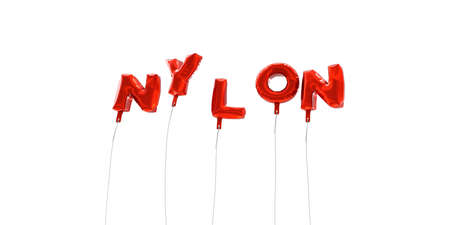nylon: NYLON - word made from red foil balloons - 3D rendered.  Can be used for an online banner ad or a print postcard.