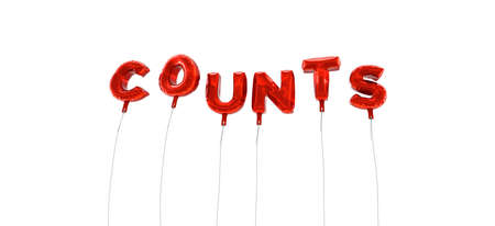 counts: COUNTS - word made from red foil balloons - 3D rendered.  Can be used for an online banner ad or a print postcard.