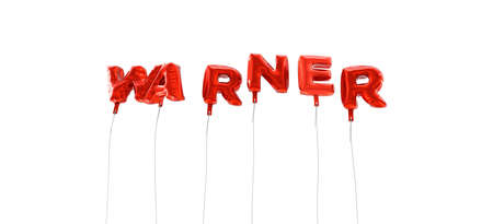 warner: WARNER - word made from red foil balloons - 3D rendered.  Can be used for an online banner ad or a print postcard.