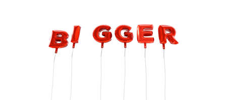 BIGGER - word made from red foil balloons - 3D rendered.  Can be used for an online banner ad or a print postcard.