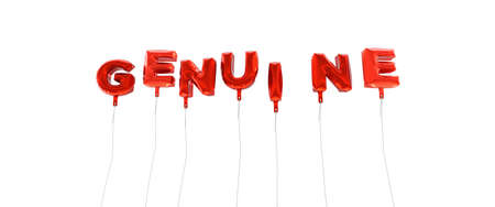 original single: GENUINE - word made from red foil balloons - 3D rendered.  Can be used for an online banner ad or a print postcard.