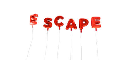 ESCAPE - word made from red foil balloons - 3D rendered.  Can be used for an online banner ad or a print postcard.