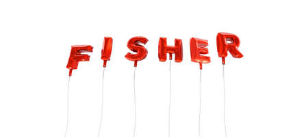 fisher: FISHER - word made from red foil balloons - 3D rendered.  Can be used for an online banner ad or a print postcard.