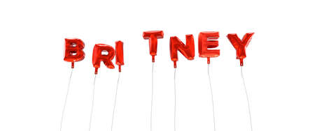 BRITNEY - word made from red foil balloons - 3D rendered.  Can be used for an online banner ad or a print postcard.