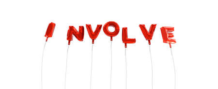 INVOLVE - word made from red foil balloons - 3D rendered.  Can be used for an online banner ad or a print postcard.