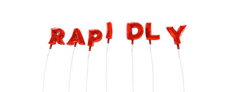 rapidly: RAPIDLY - word made from red foil balloons - 3D rendered.  Can be used for an online banner ad or a print postcard.
