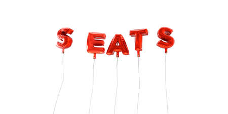SEATS - word made from red foil balloons - 3D rendered.  Can be used for an online banner ad or a print postcard.