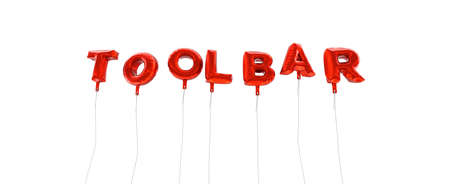 TOOLBAR - word made from red foil balloons - 3D rendered.  Can be used for an online banner ad or a print postcard.