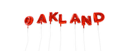 OAKLAND - word made from red foil balloons - 3D rendered.  Can be used for an online banner ad or a print postcard.