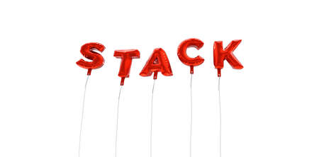 STACK - word made from red foil balloons - 3D rendered.  Can be used for an online banner ad or a print postcard.