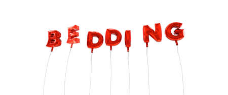 bedding: BEDDING - word made from red foil balloons - 3D rendered.  Can be used for an online banner ad or a print postcard.