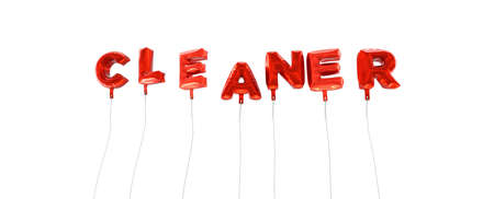 CLEANER - word made from red foil balloons - 3D rendered.  Can be used for an online banner ad or a print postcard. Stock Photo