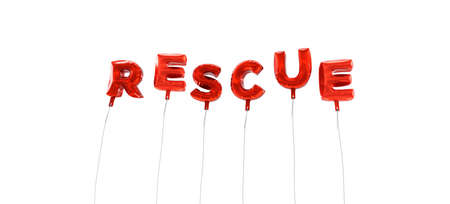 RESCUE - word made from red foil balloons - 3D rendered.  Can be used for an online banner ad or a print postcard. Stock Photo