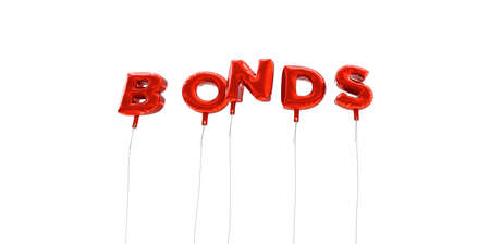 bonds: BONDS - word made from red foil balloons - 3D rendered.  Can be used for an online banner ad or a print postcard.