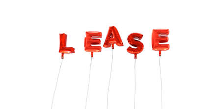 lease: LEASE - word made from red foil balloons - 3D rendered.  Can be used for an online banner ad or a print postcard.