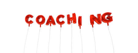 COACHING - word made from red foil balloons - 3D rendered.  Can be used for an online banner ad or a print postcard.