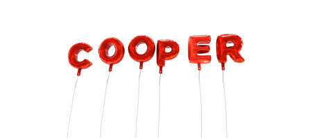 COOPER - word made from red foil balloons - 3D rendered.  Can be used for an online banner ad or a print postcard.