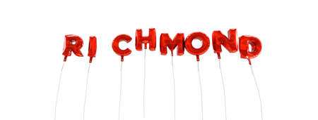 RICHMOND - word made from red foil balloons - 3D rendered.  Can be used for an online banner ad or a print postcard.