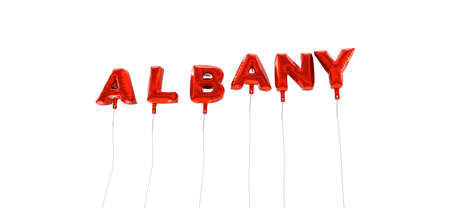 albany: ALBANY - word made from red foil balloons - 3D rendered.  Can be used for an online banner ad or a print postcard. Stock Photo