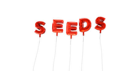 SEEDS - word made from red foil balloons - 3D rendered.  Can be used for an online banner ad or a print postcard. Stock Photo