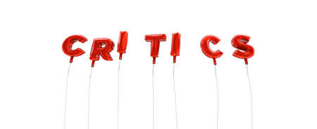 CRITICS - word made from red foil balloons - 3D rendered.  Can be used for an online banner ad or a print postcard. Stock Photo