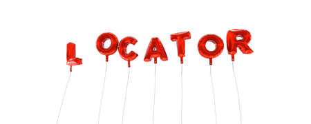 locator: LOCATOR - word made from red foil balloons - 3D rendered.  Can be used for an online banner ad or a print postcard. Stock Photo
