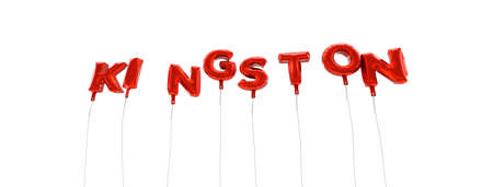KINGSTON - word made from red foil balloons - 3D rendered.  Can be used for an online banner ad or a print postcard.