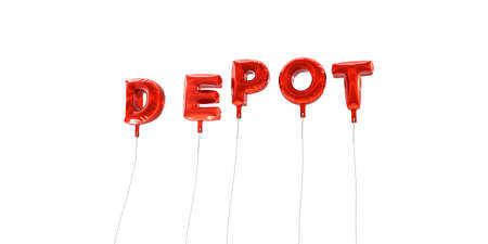 depot: DEPOT - word made from red foil balloons - 3D rendered.  Can be used for an online banner ad or a print postcard.