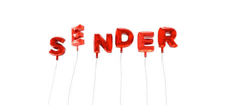 sender: SENDER - word made from red foil balloons - 3D rendered.  Can be used for an online banner ad or a print postcard.