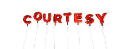 a courtesy: COURTESY - word made from red foil balloons - 3D rendered.  Can be used for an online banner ad or a print postcard.