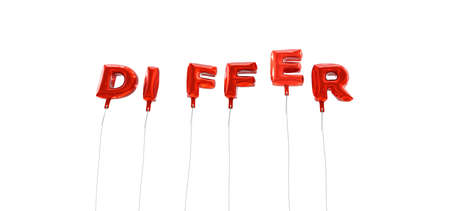 differ: DIFFER - word made from red foil balloons - 3D rendered.  Can be used for an online banner ad or a print postcard.