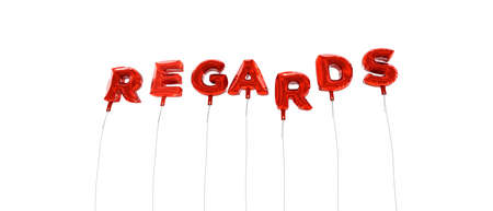 REGARDS - word made from red foil balloons - 3D rendered.  Can be used for an online banner ad or a print postcard. Reklamní fotografie