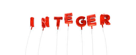 integer: INTEGER - word made from red foil balloons - 3D rendered.  Can be used for an online banner ad or a print postcard.