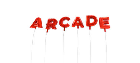 arcade: ARCADE - word made from red foil balloons - 3D rendered.  Can be used for an online banner ad or a print postcard.