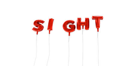SIGHT - word made from red foil balloons - 3D rendered.  Can be used for an online banner ad or a print postcard.