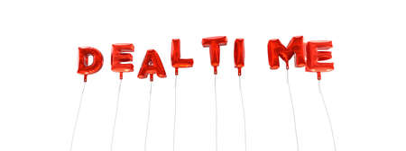 DEALTIME - word made from red foil balloons - 3D rendered.  Can be used for an online banner ad or a print postcard.