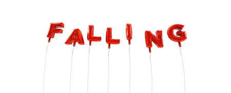 falling out: FALLING - word made from red foil balloons - 3D rendered.  Can be used for an online banner ad or a print postcard. Stock Photo