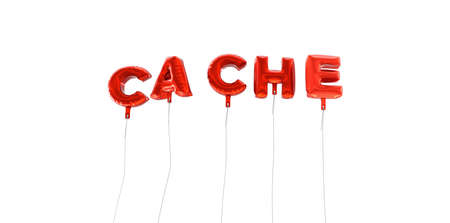 CACHE - word made from red foil balloons - 3D rendered.  Can be used for an online banner ad or a print postcard. Stock Photo