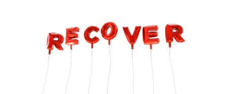 recover: RECOVER - word made from red foil balloons - 3D rendered.  Can be used for an online banner ad or a print postcard. Stock Photo