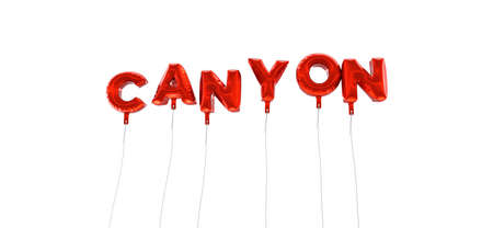 CANYON - word made from red foil balloons - 3D rendered.  Can be used for an online banner ad or a print postcard.