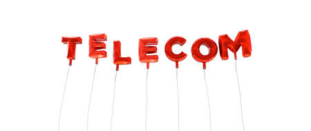 telecom: TELECOM - word made from red foil balloons - 3D rendered.  Can be used for an online banner ad or a print postcard.