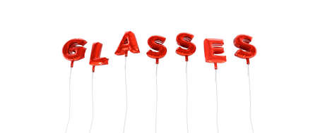 GLASSES - word made from red foil balloons - 3D rendered.  Can be used for an online banner ad or a print postcard.