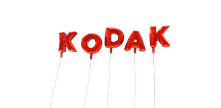 KODAK - word made from red foil balloons - 3D rendered.  Can be used for an online banner ad or a print postcard.