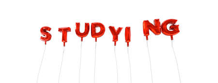 STUDYING - word made from red foil balloons - 3D rendered.  Can be used for an online banner ad or a print postcard.