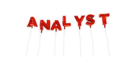ANALYST - word made from red foil balloons - 3D rendered.  Can be used for an online banner ad or a print postcard.