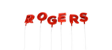 ROGERS - word made from red foil balloons - 3D rendered.  Can be used for an online banner ad or a print postcard.