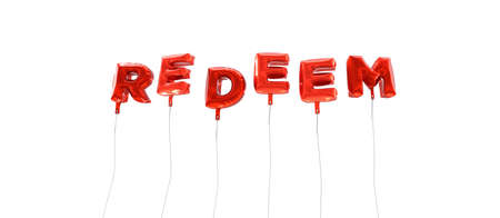 REDEEM - word made from red foil balloons - 3D rendered.  Can be used for an online banner ad or a print postcard. Stock Photo